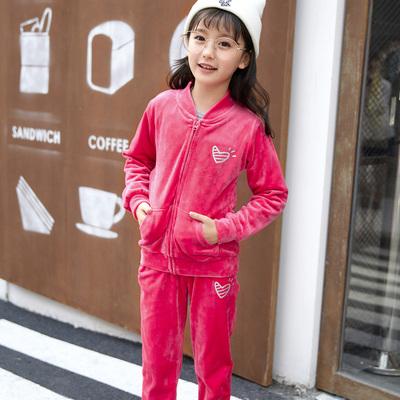 天鹅绒女童运动套装春秋 女童洋气秋装2017新款 女大童秋装两件套