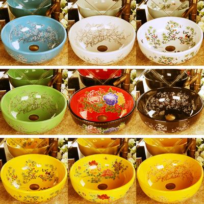洗手盆陶瓷台上盆圆形艺术洗脸盆欧式洗漱面盆家用卫生间洗手台盆