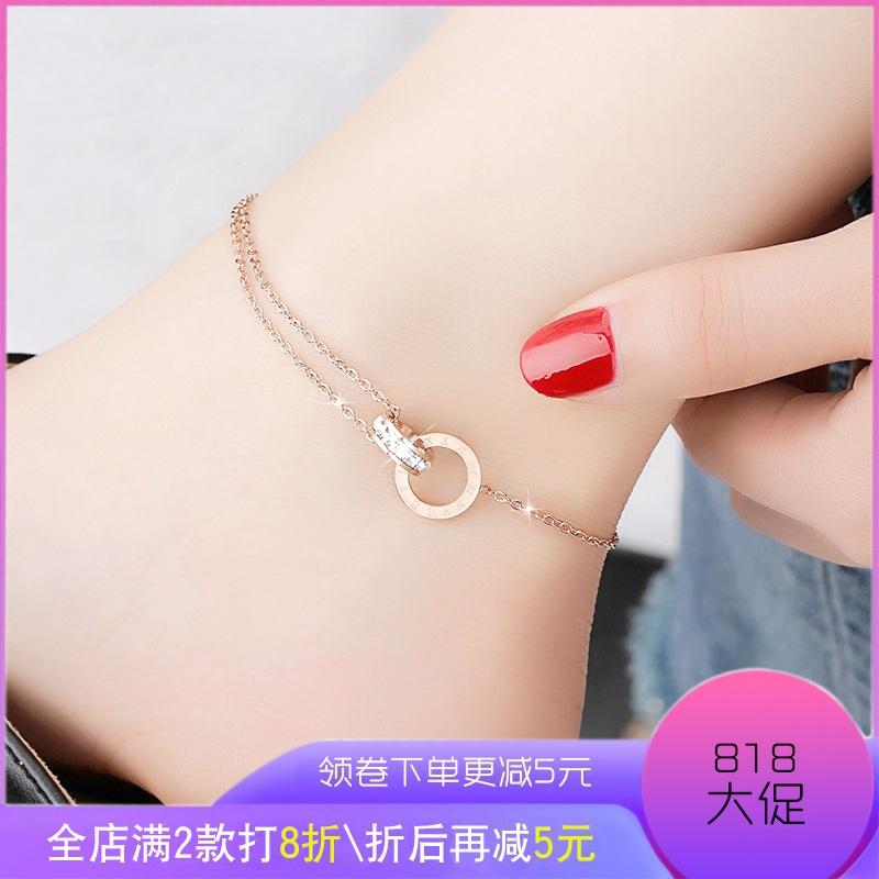 玫瑰金钛钢网红脚链个性韩版脚链子简约女款时尚性感足链女不掉色
