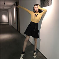 Autumn and winter new Korean version of the slim slim long-sleeved sweater sweater folding high waist knit skirt fashion suit