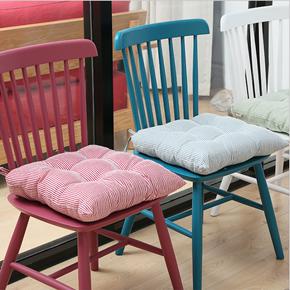条纹纯棉垫子餐椅办公室学生电脑椅冬季加厚地板飘窗方形坐垫