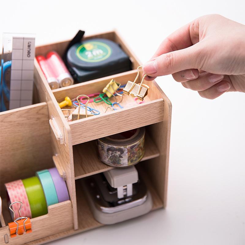 得力79230多功能收纳盒笔筒收纳笔筒木质文件框小号整理工具框