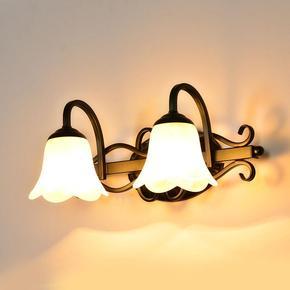 欧式铁艺壁灯 复古铜色单头美式卧室床头镜柜灯卫生间浴室镜前灯