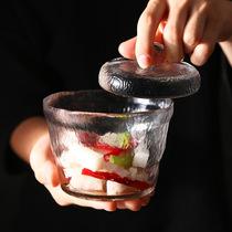 日式一夜渍日本泡菜坛子浅渍罐加厚玻璃咸菜罐重石腌菜容器渍物罐