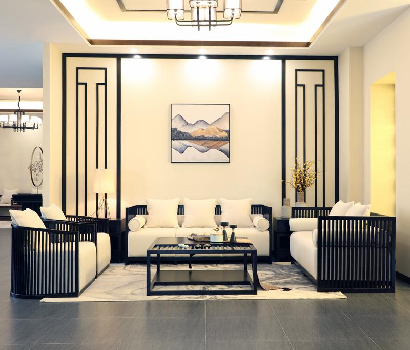 新中式沙发禅意组合三人