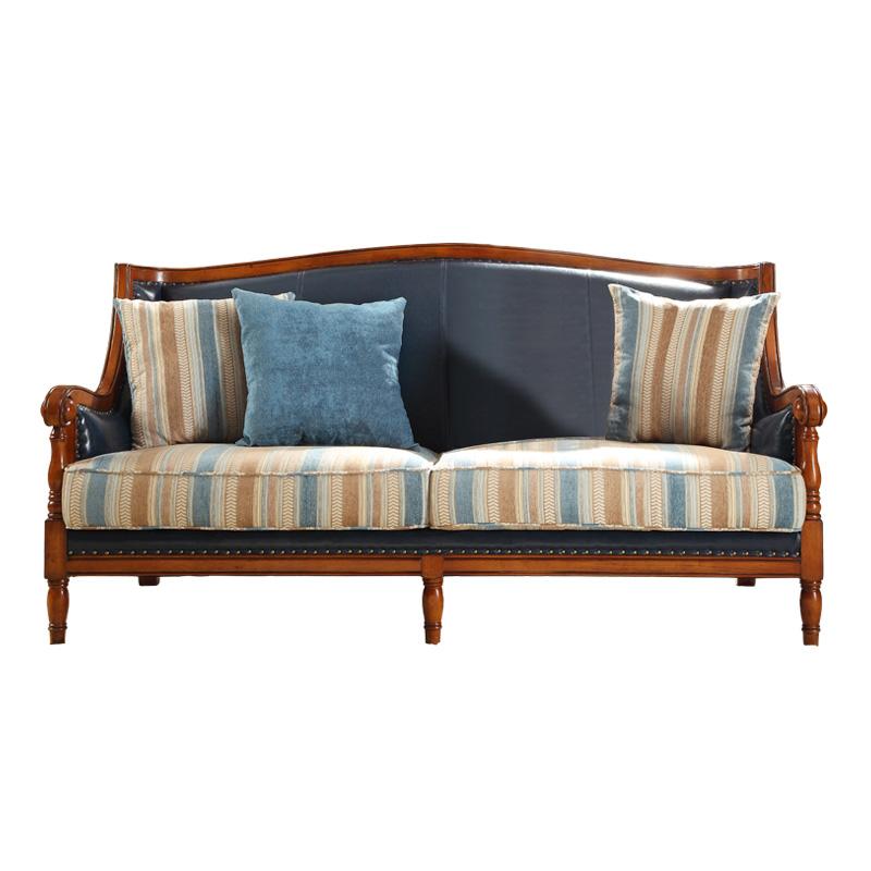 新古典美式乡村沙发 皮布沙发组合1+2+3 欧式客厅实木简美U型沙发