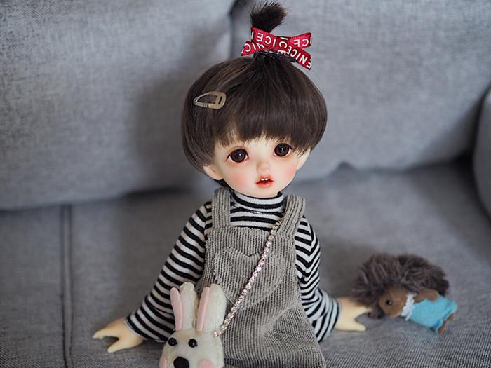 【售完售完】1/6分bjd娃衣套装条纹上衣+背带裙+袜子+发夹+小包