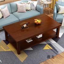 茶几简约现代纯实木客厅小户型双层办公桌咖啡桌原木小茶几边几