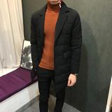 2017冬季韩版修身潮流男士中长款棉服保暖西装领个性时尚棉衣外套