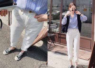 byspring 韩国新款 撑起本期所以搭配精品B入 白色9分宽松牛仔裤