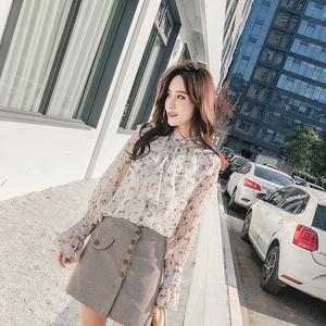 图片:雪纺衫长袖女2018新款夏装韩版超仙气质碎花上衣甜美防晒衣小衫