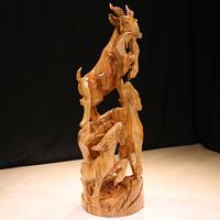 典艺阁香樟木根雕摆件家开业送礼实木工艺品树根木雕三阳开泰饰品