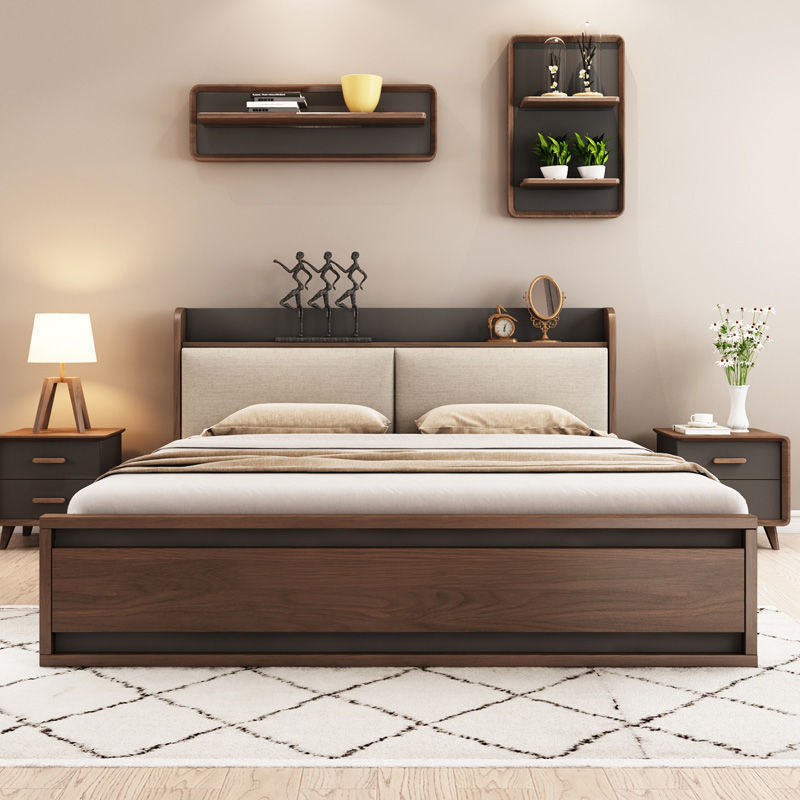 北欧气动高箱储物床主卧1.8现代简约小户型省空间板式收纳双人床