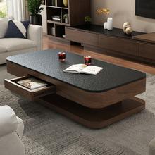 简约现代火烧石茶几电视柜组合北欧茶桌可伸缩小户型客厅家具套装