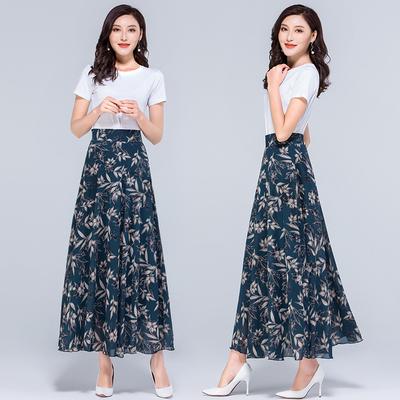 2019夏季新款碎花大码雪纺半身长裙女士高腰A字中年跳舞半身裙子