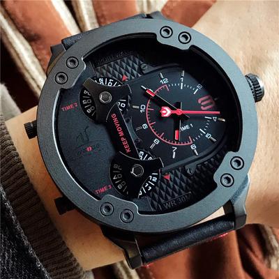 男士皮带手表欧美风大表盘防水军表潮男个性表嘻哈范黑色手表正品牌子口碑评测