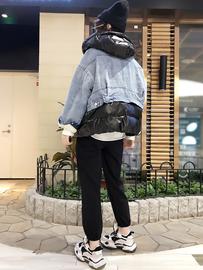 网红棉衣女短款2018新款韩版宽松牛仔拼接羽绒棉连帽面包服外套潮图片