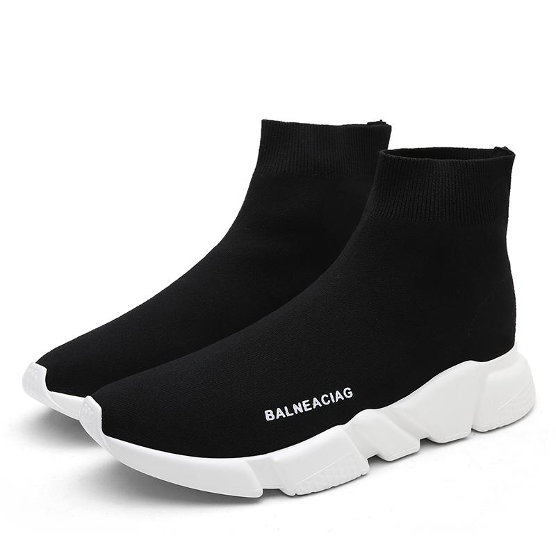 夏天穿的新款情侣款袜子鞋红色男女运动鞋厚底套脚百搭潮流弹力鞋