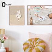饰画小清新儿童房挂画卧室床头画 简约餐厅装 Daily食趣 Bunny原创图片