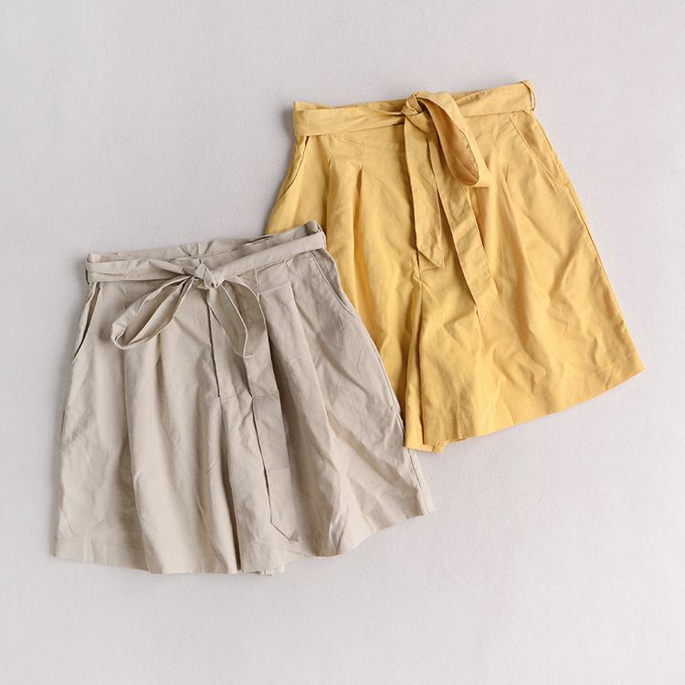 夏季新品女装纯色沙滩裙裤棉麻清新休闲裤系带显瘦阔腿裤B16-3