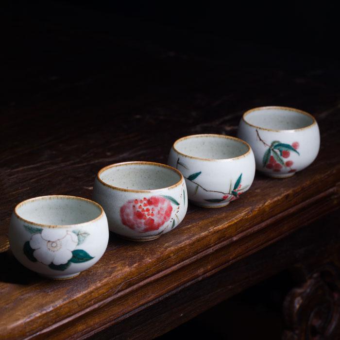 粉彩 茶杯 花卉