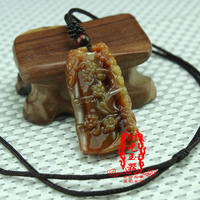 Natural authentic Yunnan Huanglong Yuxi upper eyebrow jade pendant jade necklace men and women jade pendant jade pendant