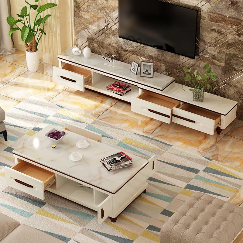 客厅简约现代大理石面茶几电视柜组合套装北欧烤漆欧式玻璃茶几