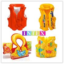 正品INTEX儿童初学游泳圈救生衣手臂圈连体背心宝宝浮力泳衣