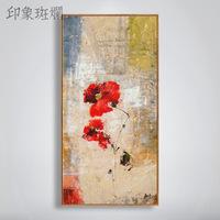 芬芳的玫瑰 纯手绘油画 复古怀旧抽象花卉美式玄关过道竖版装饰画