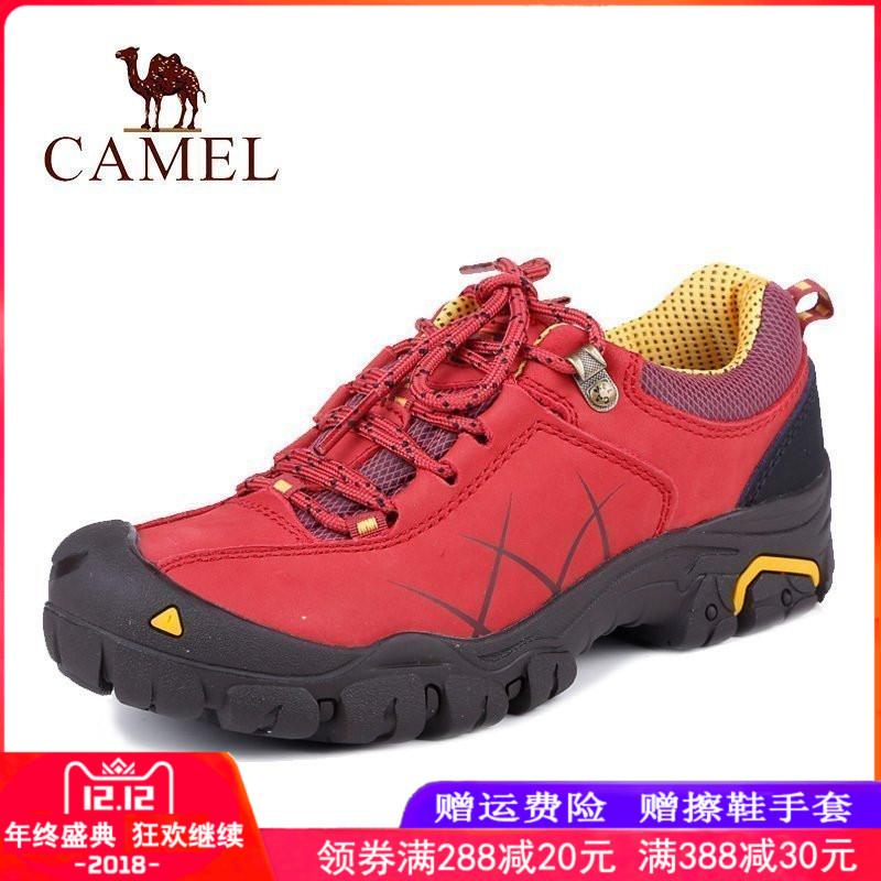 骆驼户外鞋女鞋 秋冬季牛皮系带徒步登山鞋 轻便透气女士休闲鞋子
