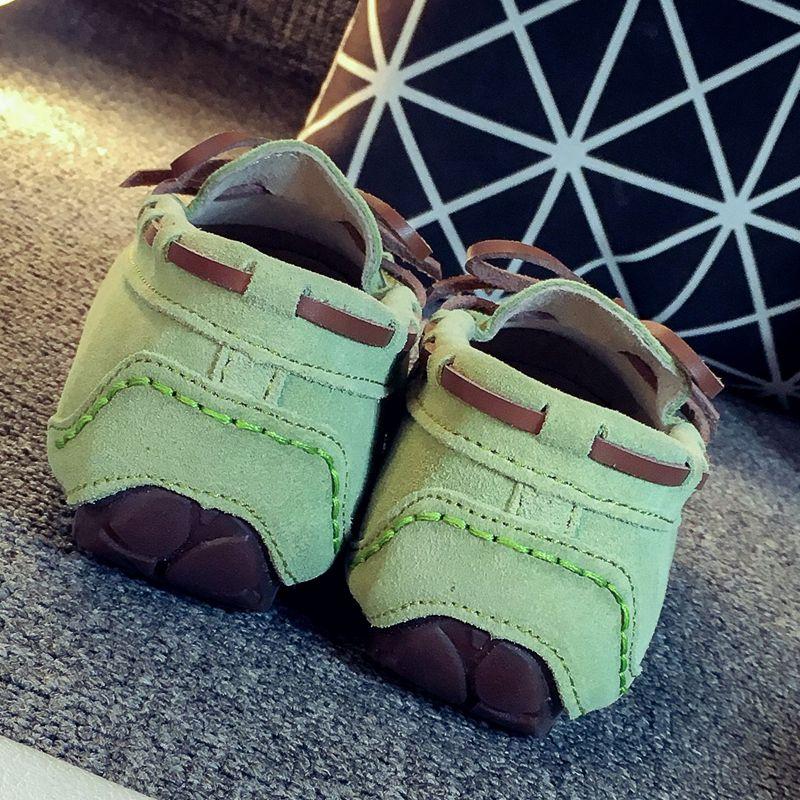 豆豆鞋女真皮学生