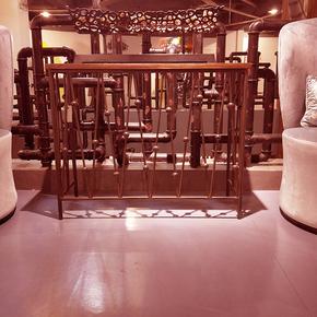 实木奶茶吧台 墙家用客厅组装美式乡村做旧松木铁原木吧台桌简约