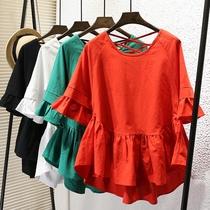 蓬蓬新款夏装韩版显瘦娃娃衫女装棉麻短袖宽松大码荷叶边a字上衣