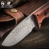 Handaolock Damascus steel knife straight knife collection knife outdoor portable survival saber self-defense knife limited edition
