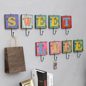 美式乡村创意字母装饰挂钩门口挂衣钩玄关钥匙挂钩墙壁衣帽架壁挂
