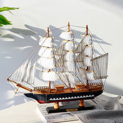Mediterranean style sailing boat model crafts simulation solid wood fishing boat small wooden boat ornaments ornaments