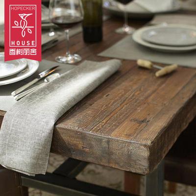 实木餐桌椅组合美式复古loft铁艺长桌原木长方形做旧简约咖啡厅桌