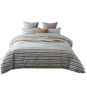 无印良品四件套条纹全棉纯棉简约水洗棉北欧风枕套床单1.8米1.5mB