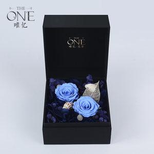 THEONE唯忆 海和月 进口永生花礼盒蓝色妖姬玫瑰花送女友生日礼物