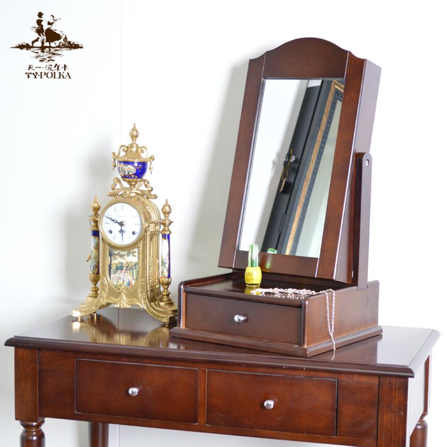 天一波尔卡木质台式田园化妆镜韩版桌面梳妆镜子首饰收纳盒梳镜台