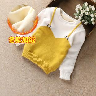 天天特价女童加绒加厚毛衣1-3岁 女宝宝冬季圆领保暖公主针织线衫