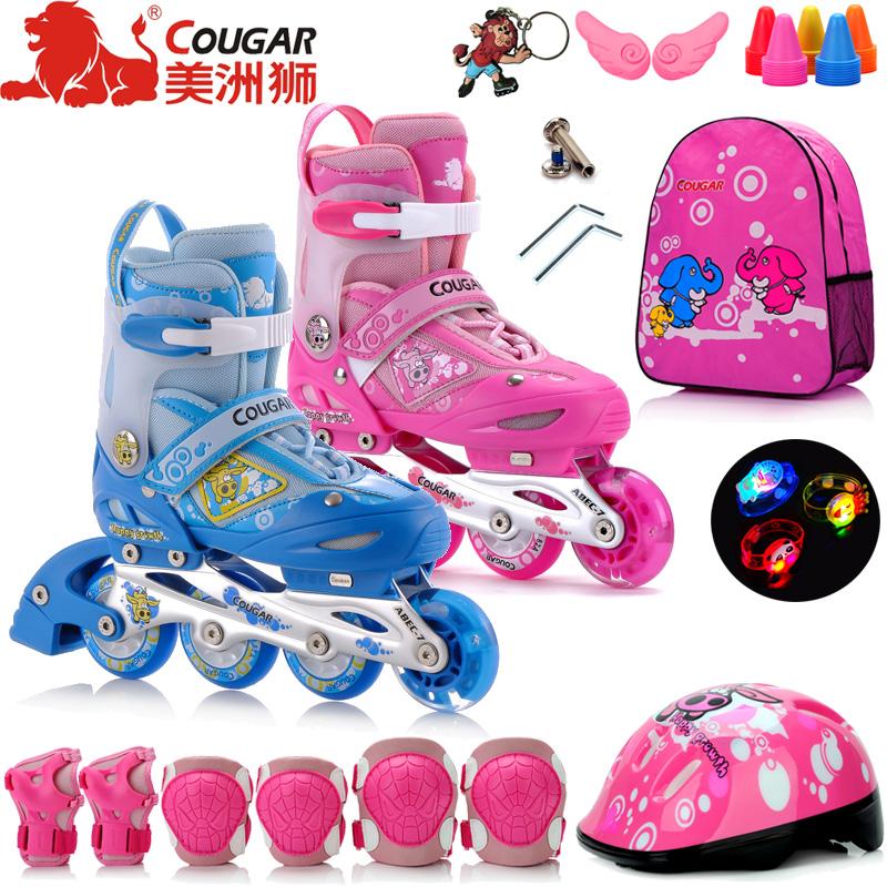 美洲狮溜冰鞋儿童全套装3-5-6-8-10岁可调轮滑鞋旱冰鞋初学者男女