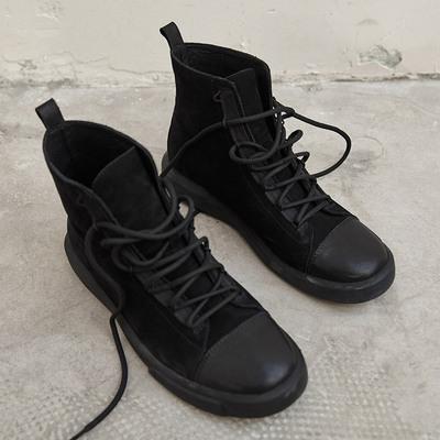 日着原创设计女鞋2019春秋新款 帅气靴子女短靴英伦风百搭马丁靴
