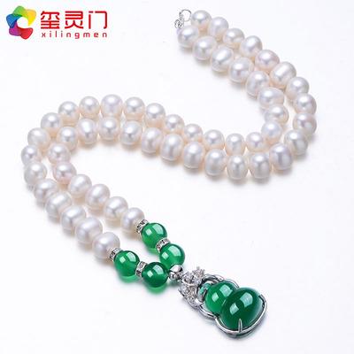 玺灵门饱满强光淡水珍珠项链配绿玛瑙锁骨链送妈妈婆婆母亲节礼物