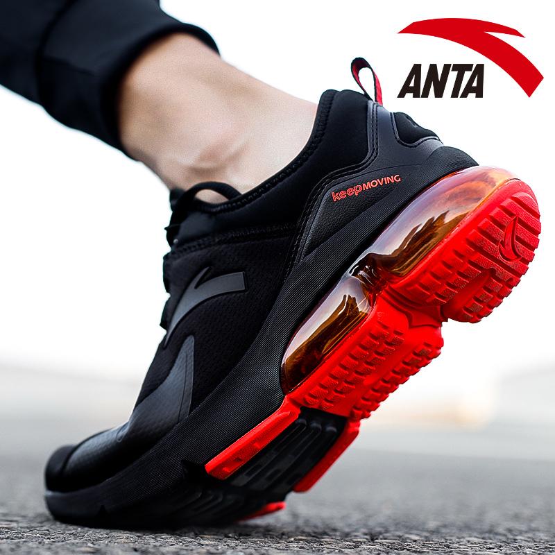 安踏男鞋气垫鞋秋冬季2018新款正品黑红网面跑步鞋小白鞋运动鞋男