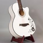 39/40/41寸民谣电箱吉他 学生新手白色木吉他 男女生演出吉它包邮
