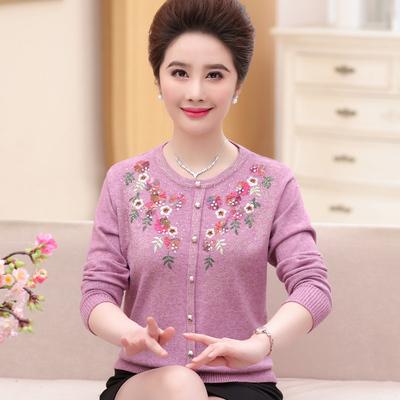 中老年女装秋款长袖打底衫妈妈装秋冬新款套头针织衫中年女士毛衣