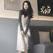 2018秋装 chic风高领纯色打底衫 灯芯绒吊带长裙复古显瘦套装 新款