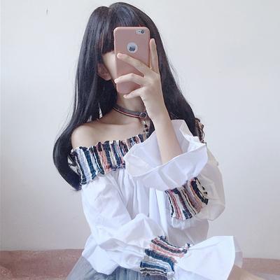 时尚一字领喇叭袖宽松上衣女韩版秋装新款休闲拼色露肩衬衣衫学生