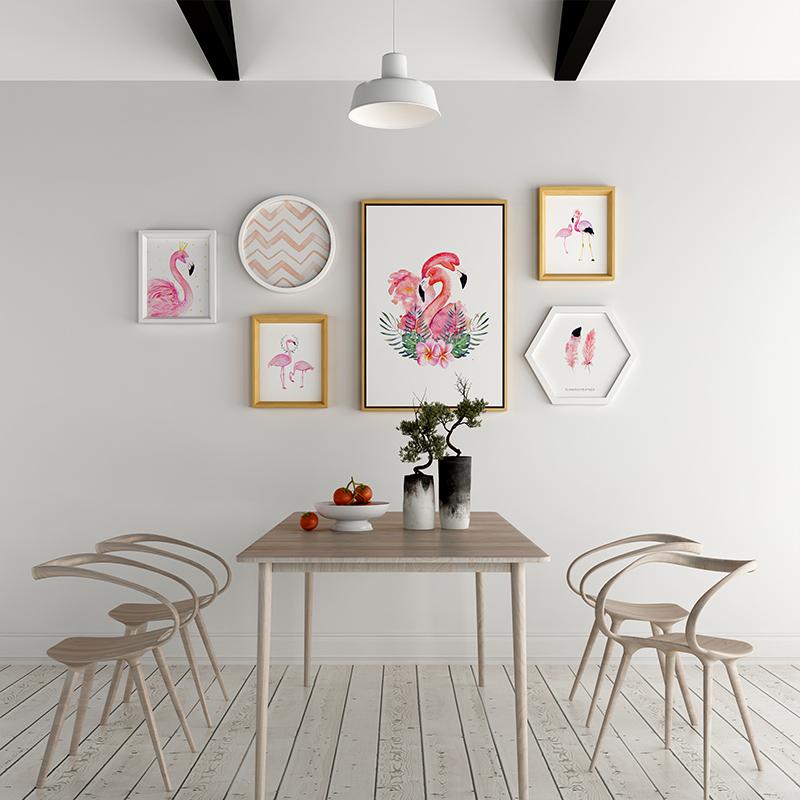 火烈鸟装饰画组合简约现代小清新 客厅餐厅卧室沙发墙画壁画挂画5元优惠券
